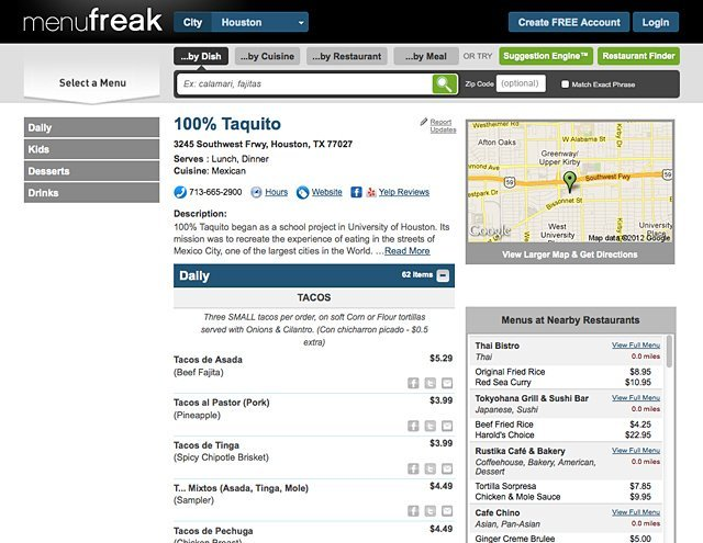 menuFREAK (Restaurant Page)