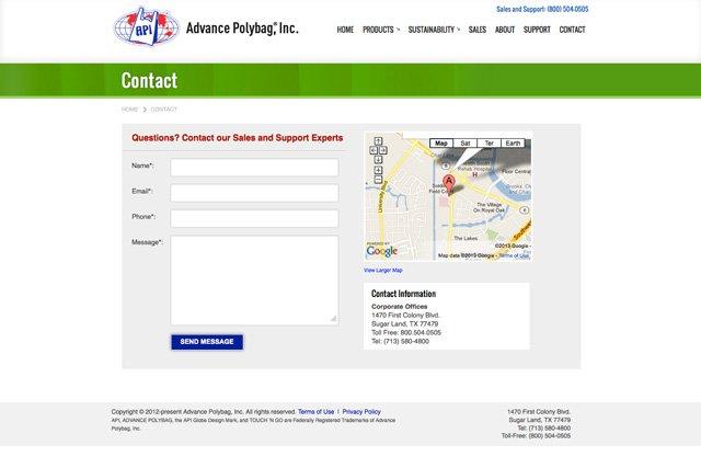 API Contact Page