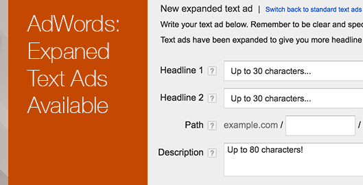 Adwords Expanded Text Ads Available
