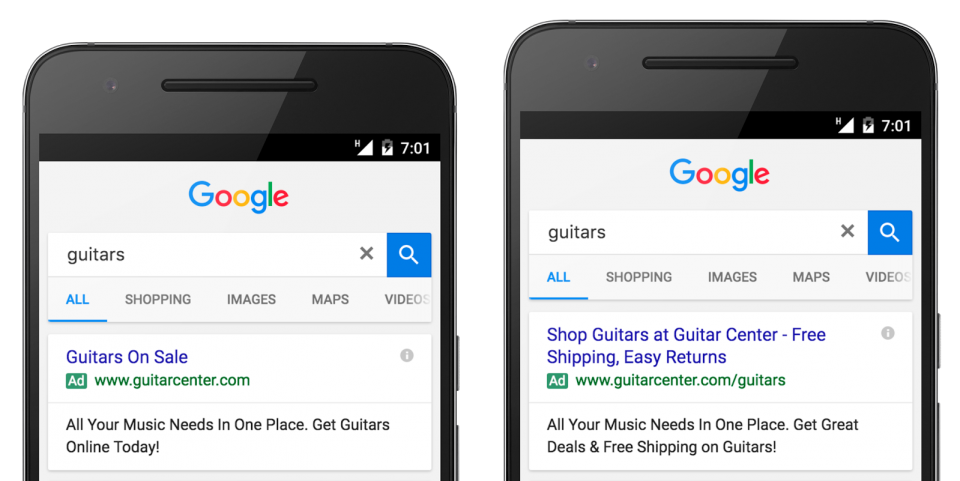 Google expanded text ads example: Guitar Center